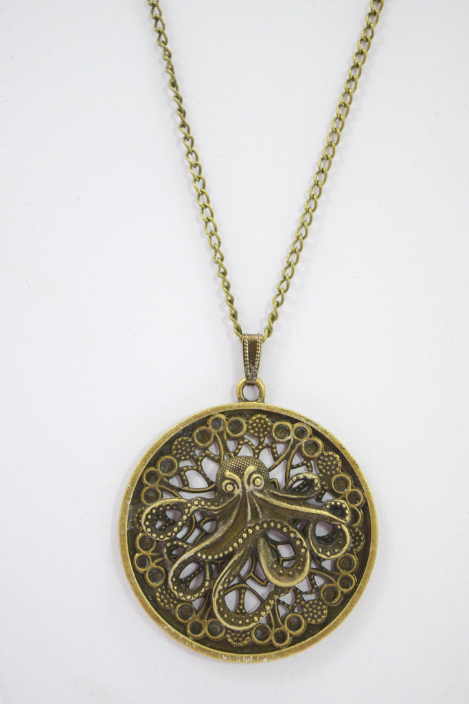 Steampunk Vintage Toilers of The Sea Octopus Kraken Antiqued Bronze Filigree Necklace