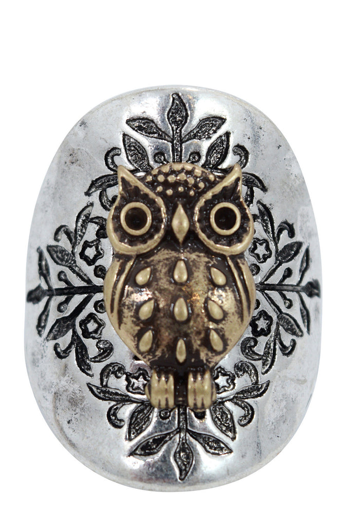 Bohemian Forest Owl Fashion Ring - Skelapparel