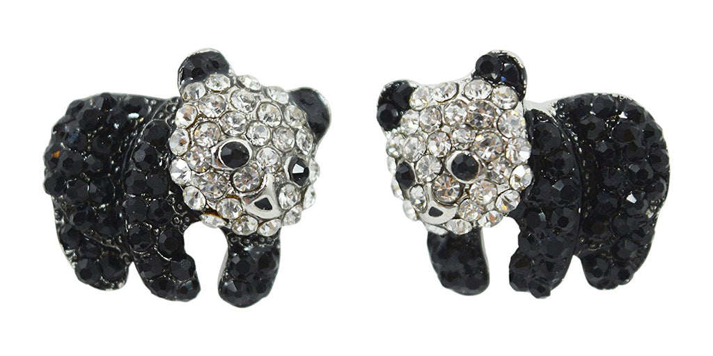 I love Panda Zoo Animal Kawaii Cute Crtstal Panda Bear Sparkling Earrings - Skelapparel