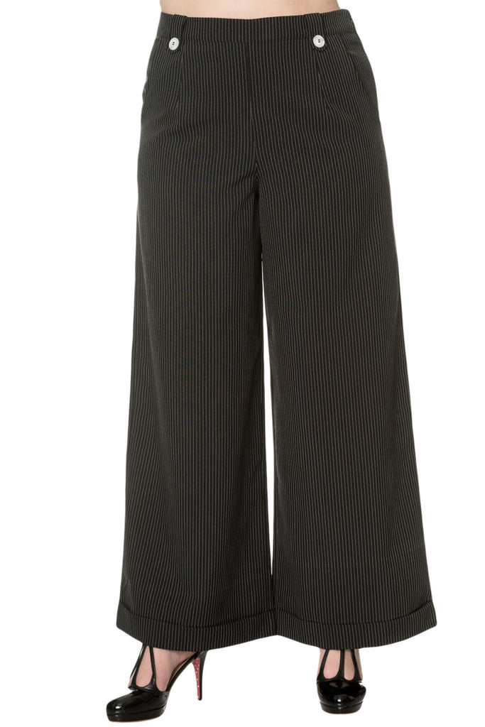 Banned Apparel Vintage Retro 50's High Waist Wide Leg Pinstripe Pants - Skelapparel