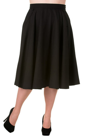 50's 60' Rockabilly Pin-up Black Pocket Swing Skirt - Skelapparel