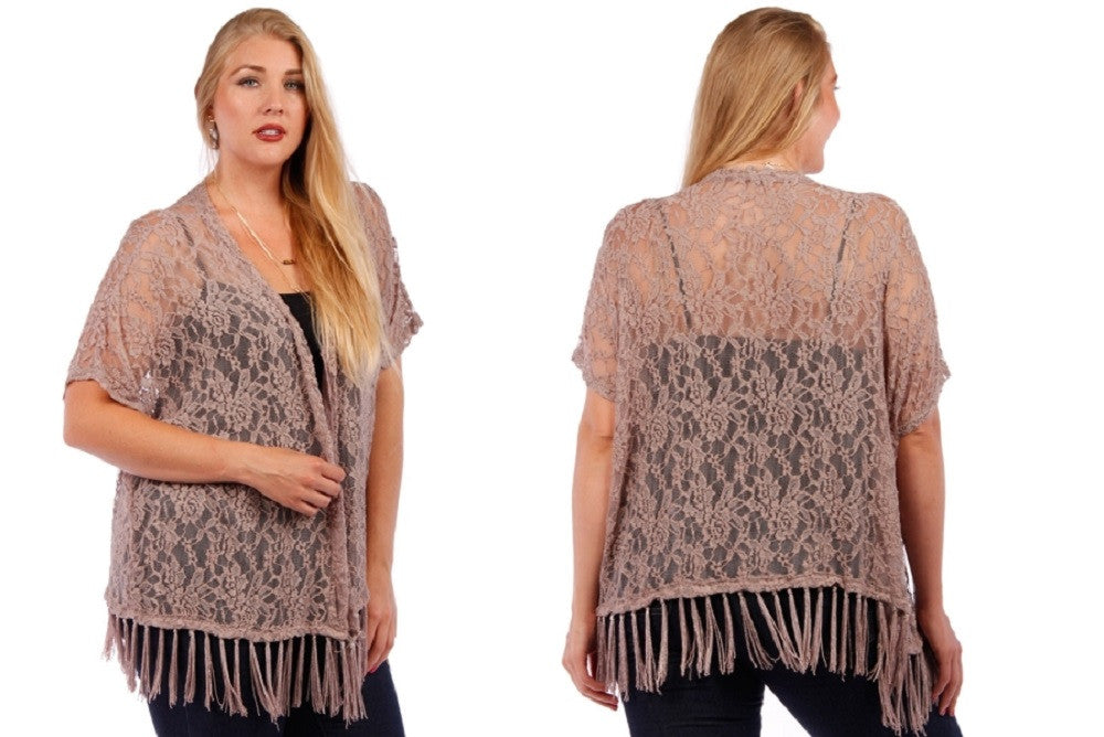 Plus Vintage Bohemian Soft Knit Lace Fringed Hem Kimono Cardigan - Skelapparel