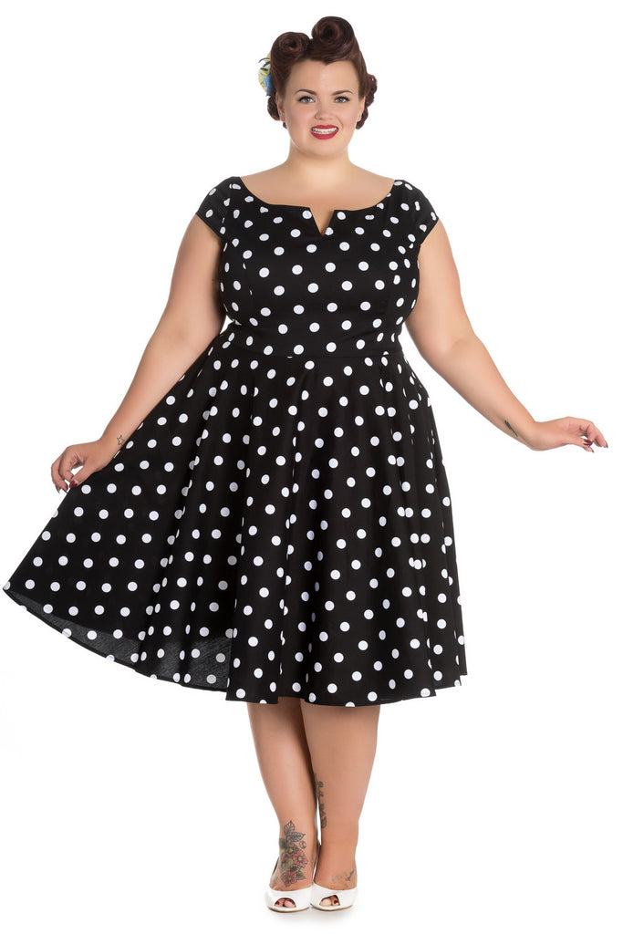 Hell Bunny Plus 50's Retro Mod Black White Polka Dot Flare Party Dress - Skelapparel