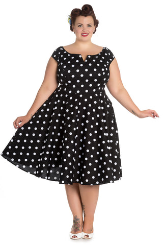 Hell Bunny Plus 50's Retro Mod Black White Polka Dot Flare Party Dress - Skelapparel - 1