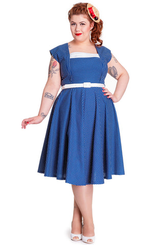 Hell Bunny Plus Vintage Country Picnic Blue Polka Dot Party Dress - Skelapparel - 1