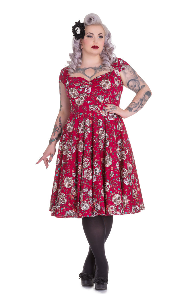 Hell Bunny Calavera Day of the Dead Flower Sugar Skull Print Red Party Dress - Skelapparel