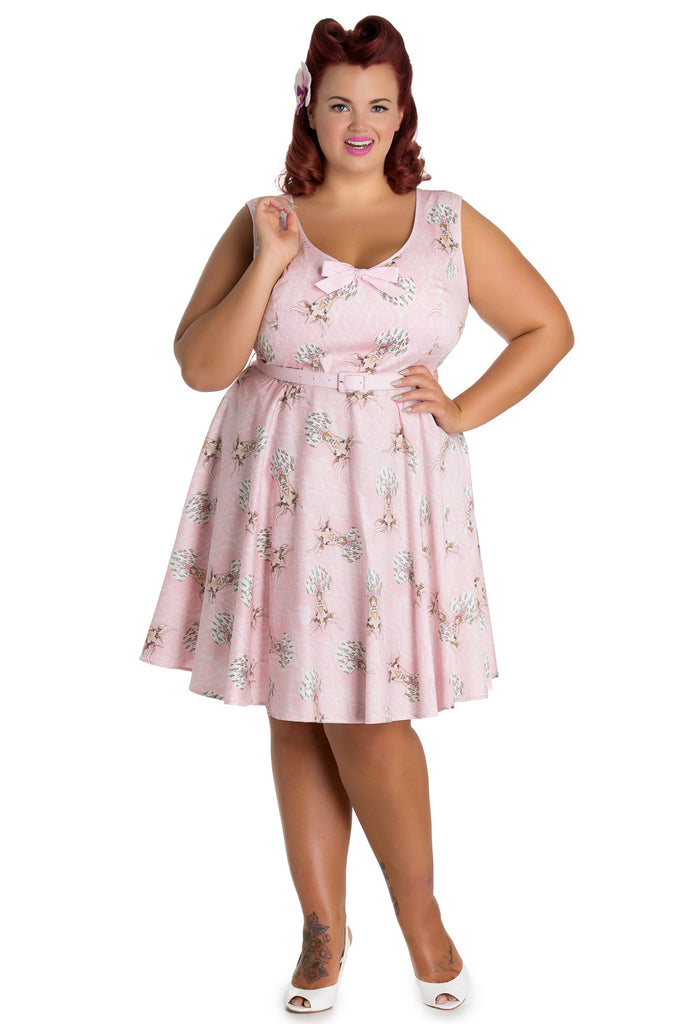 Hell Bunny Plus size Forest Fairy tale Victorian Deery Me Pink Party Dress - Skelapparel - 1