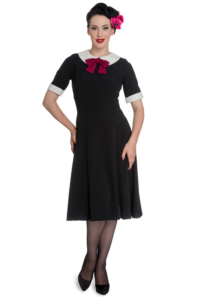 Hell Bunny Prep-school Style Black Short Sleeve Burgundy Bow Tie Dress - Skelapparel