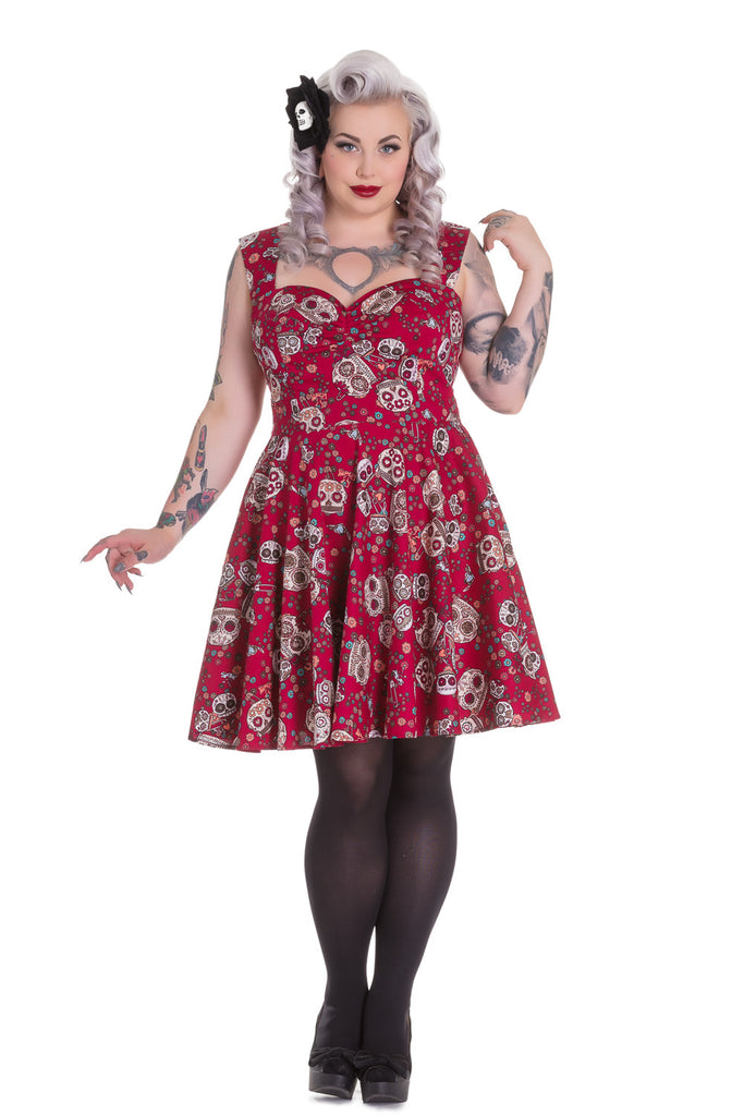 Plus Size Calavera Flower Sugar Skull Red Party Dress
