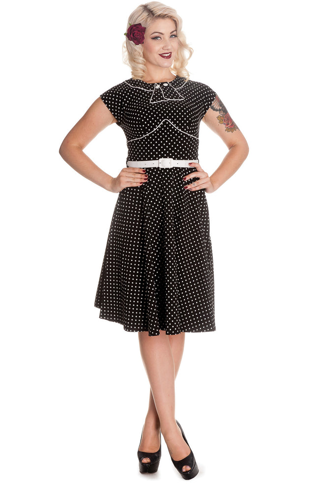 Hell Bunny Black and White Polka Dot Cap Sleeve Noreen Dress - Skelapparel - 1