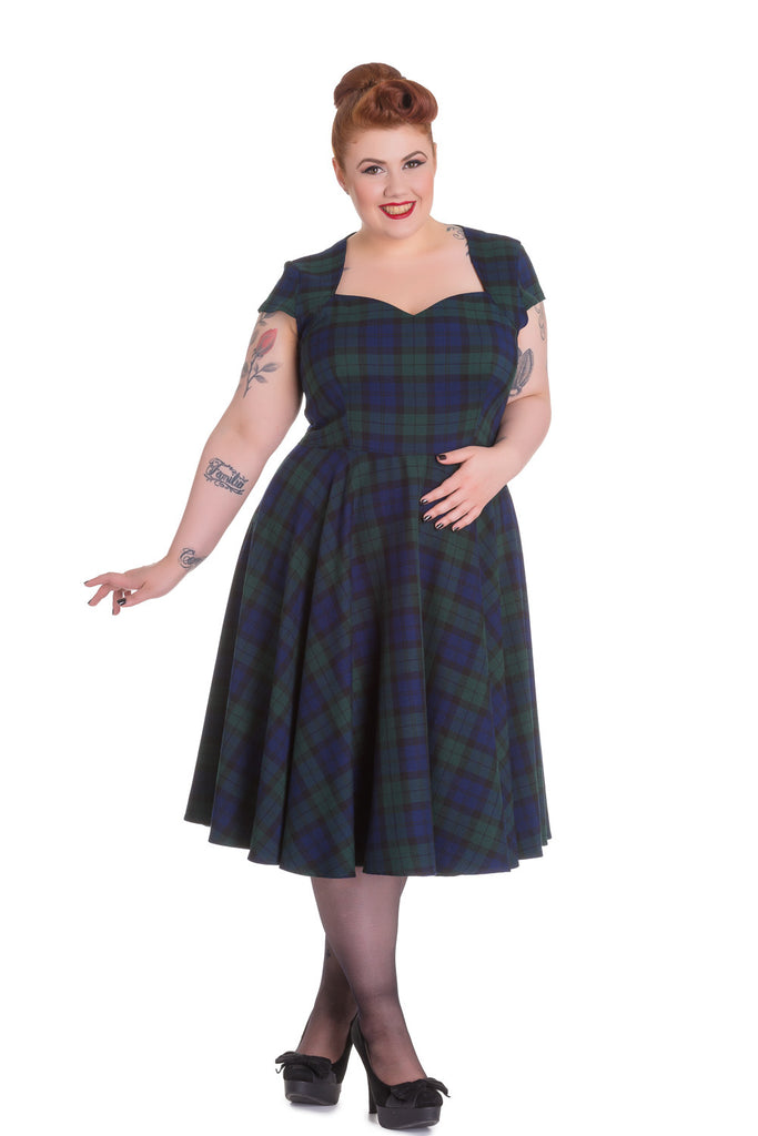 Hell Bunny Plus Size Vintage Inspired Ireland Love Dublin Tartan Flare Dress - Skelapparel - 1