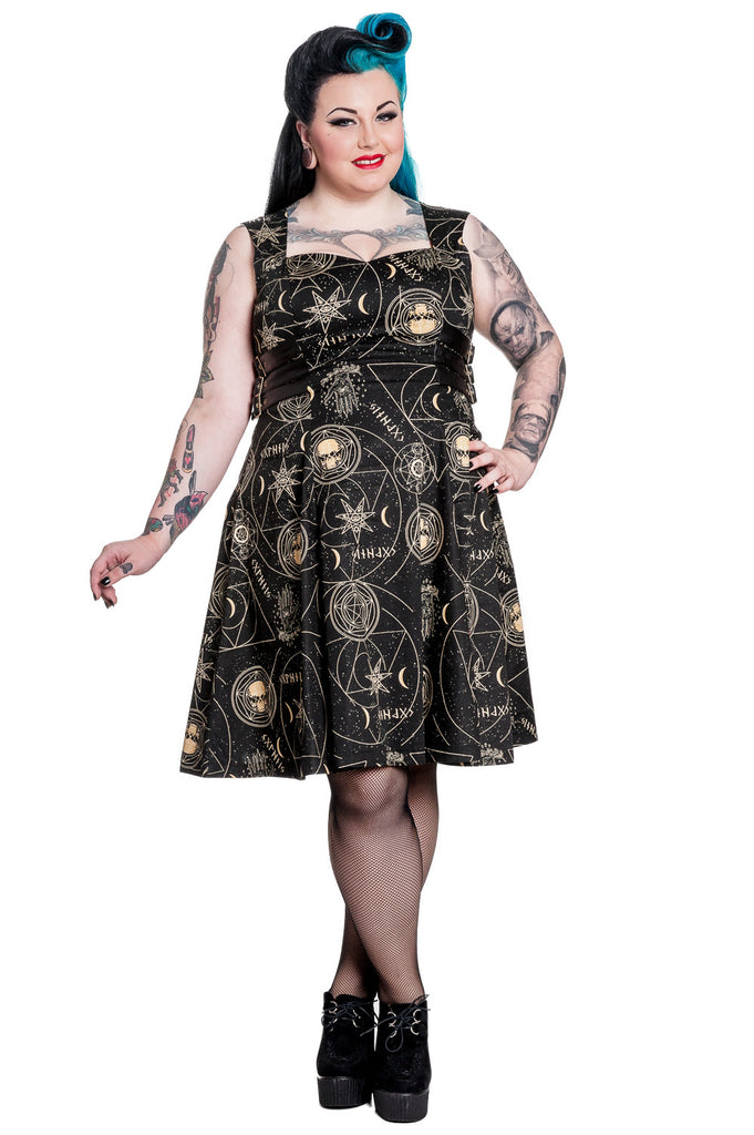 Plus size Galaxy Cosmic Gothic Magical Hamsa Party Dress by Spin Doctor - Skelapparel - 1