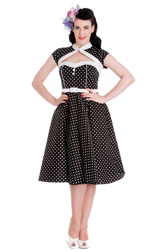 Hell Bunny Metro Mod Black and White Polka Dot with Bolero Swing Dress - Skelapparel - 1