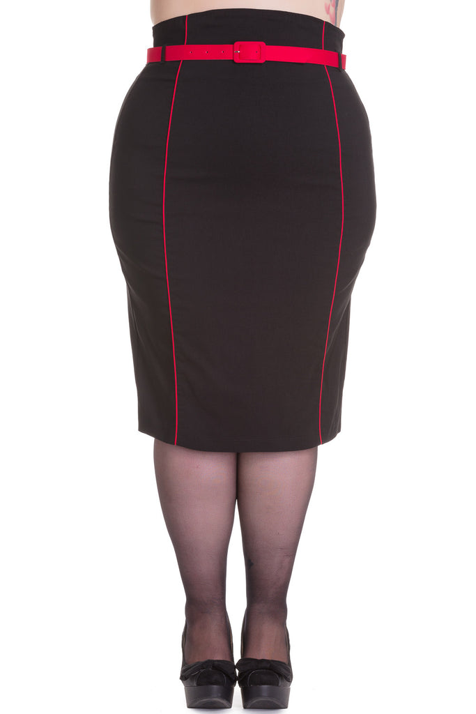 Hell Bunny 50's Vintage Contrast Piping Black Fitted Wiggle Pencil Skirt with Belt - Skelapparel