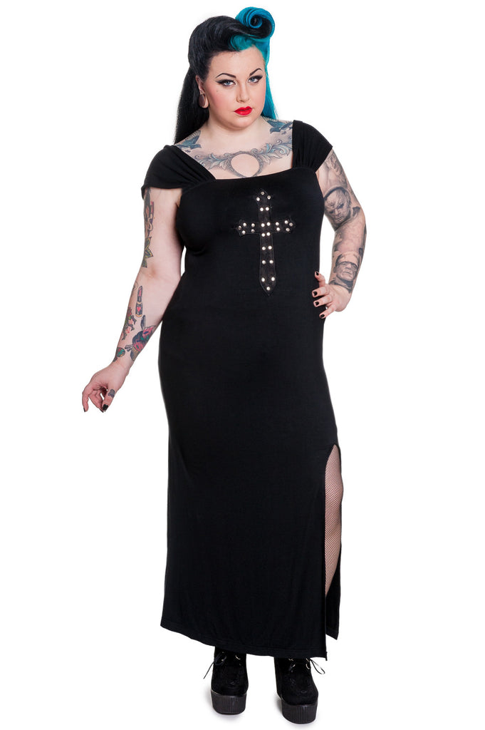 Plus size Queen of Goth Crucifix Black Long Dress by Spin Doctor - Skelapparel - 1
