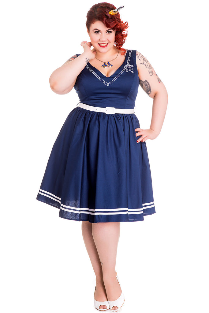 Hell Bunny Plus Navy Sailor Anchor & Rope V-neck Ariel Navy Flare Dress - Skelapparel - 1