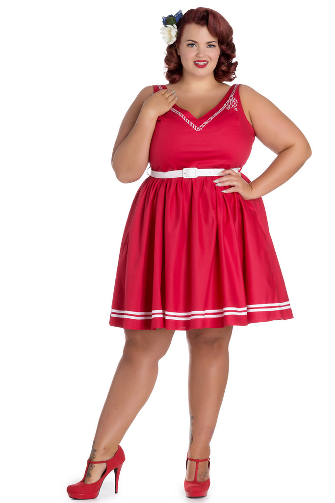 Hell Bunny Plus Size Pin-up Sailor Anchor & Rope V-neck Ariel Red Flare Dress - Skelapparel - 1