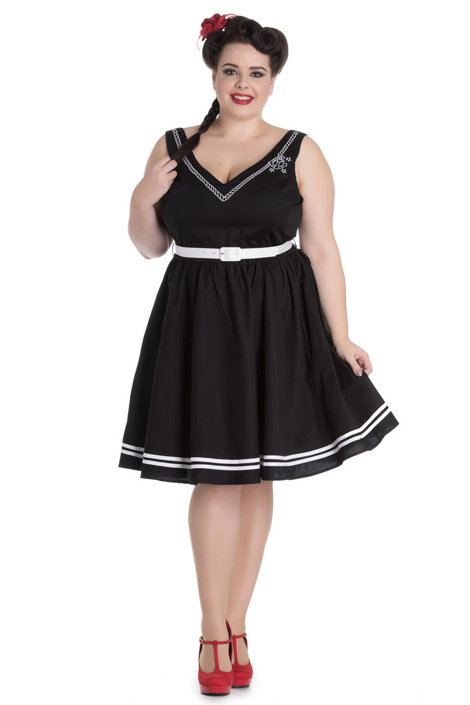 Hell Bunny Plus Size Pin-up Sailor Anchor & Rope V-neck Ariel Black Flare Dress - Skelapparel - 1