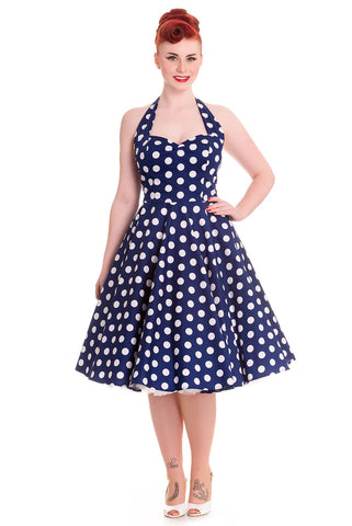 Hell Bunny 60's Navy and White Polka Dot Halter Flare Party Dress - Skelapparel - 1