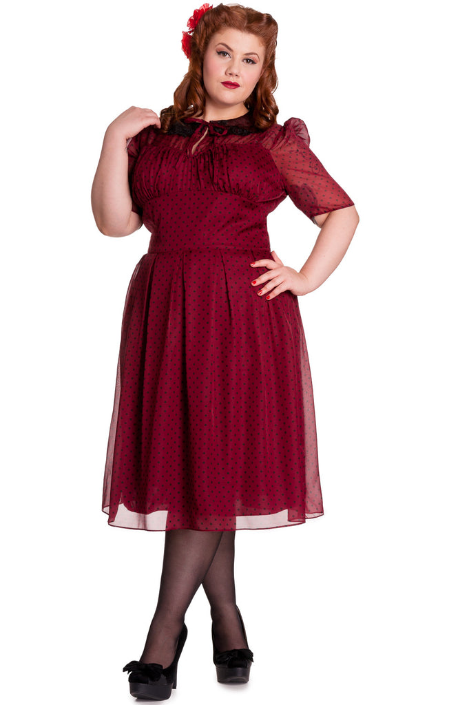 Hell Bunny 40s 50s Vintage Cynthia Polka Dot Chiffon Dress - Skelapparel