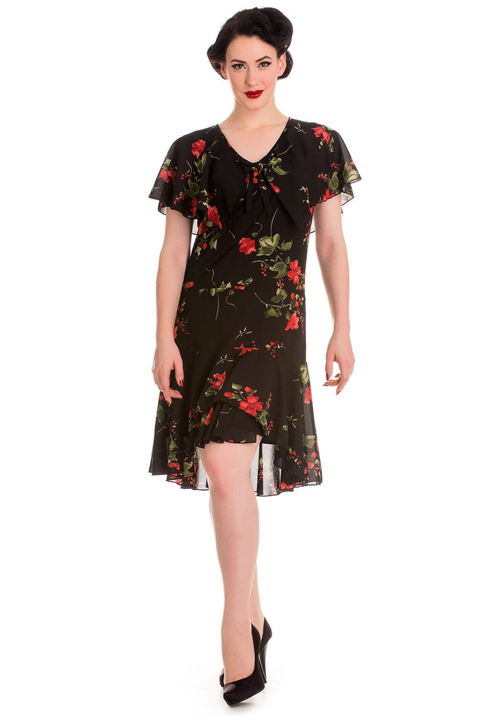 Hell Bunny 60's Vintage Inspired Black & Red Rose Lily Chiffon Dress - Skelapparel