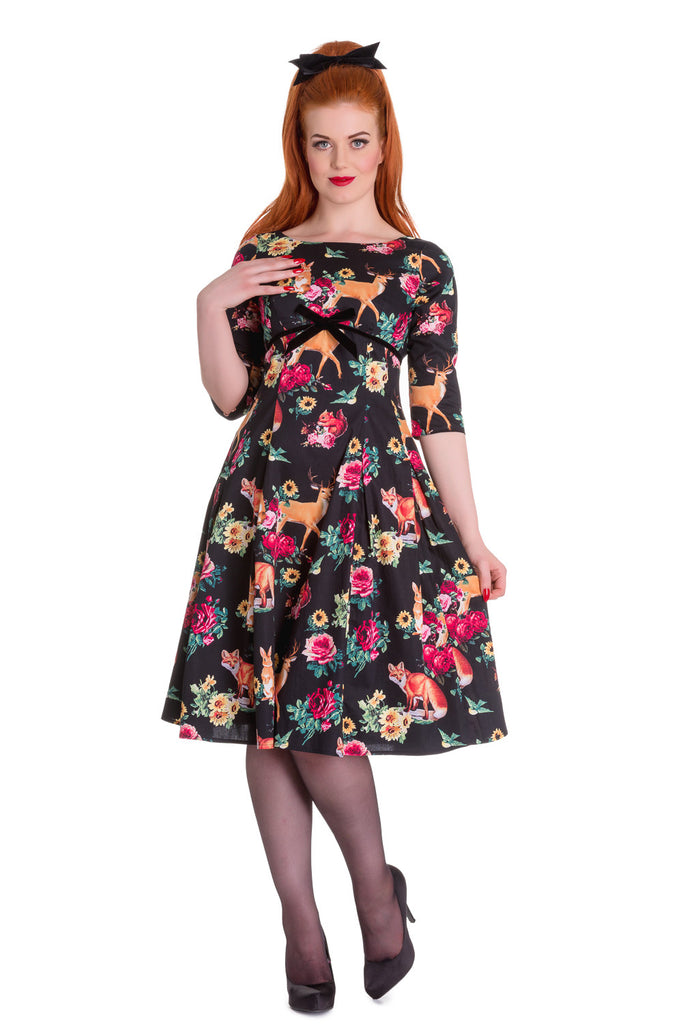 Hell Bunny Retro Hermeline Forest Animals & Flower Print Wonderland Flare Dress - Skelapparel