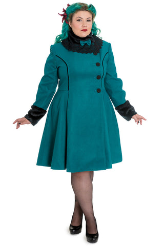 Hell Bunny Plus Size Vintage Victorian Design Teal Green Angeline Winter Coat - Skelapparel - 1