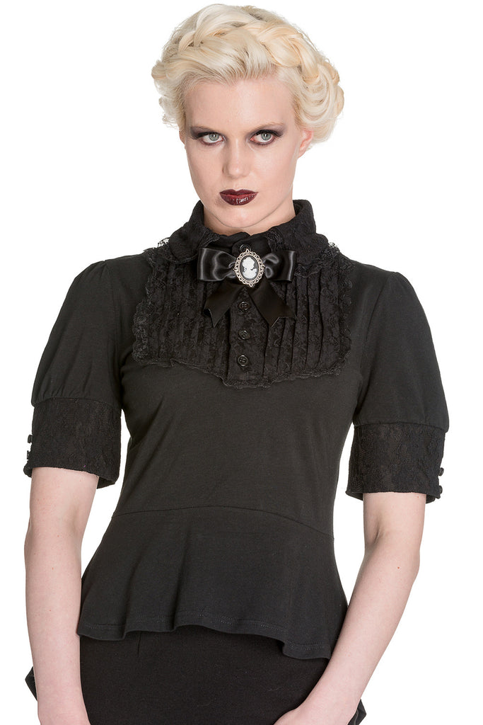 Spin Doctor Victorian Steampunk Black Lace Insert Top with Cameo Brooch - Skelapparel