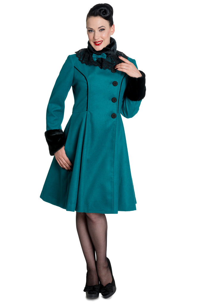 Hell Bunny Vintage Victorian Design Teal Green Angeline Winter Coat - Skelapparel
