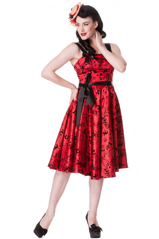 Hell Bunny Rockabilly Gothic Velvet Tattoo Art Flocked Satin Party Dress - Skelapparel