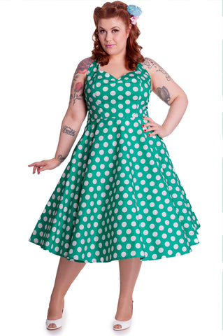 Green and White Polka Dot Halter Dress