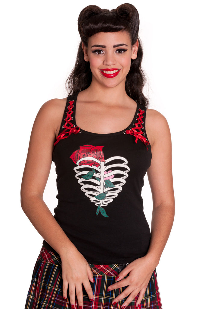 Hell Bunny Ribcase & Rose with Red Ribbon Lace-up Corset Racer Back Tank Top - Skelapparel - 1