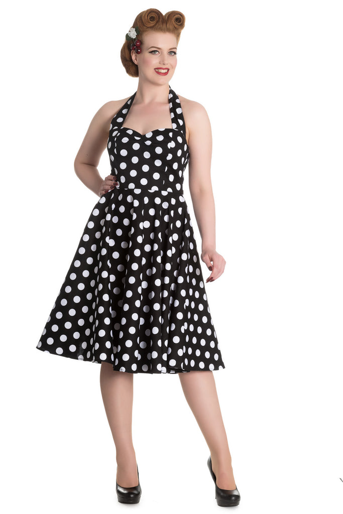 Hell Bunny 60's Black and White Polka Dot Halter Flare Party Dress - Skelapparel