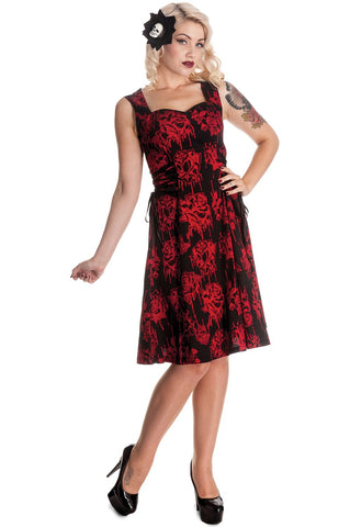 Hell Bunny Gothic Bloody Rose Vampire Endless Night Side Corset Tie Dress - Skelapparel