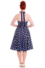 Hell Bunny 60's Navy and White Polka Dot Halter Flare Party Dress - Skelapparel - 2