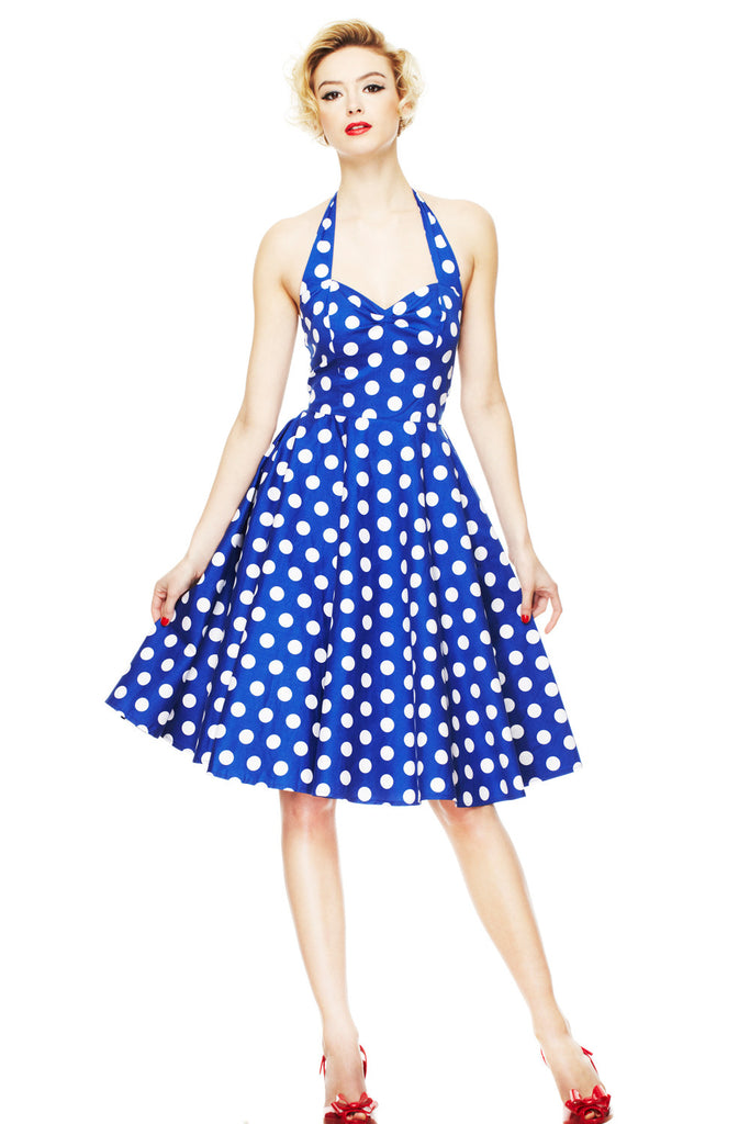 Hell Bunny 60's Blue and White Polka Dot Halter Flare Party Dress - Skelapparel