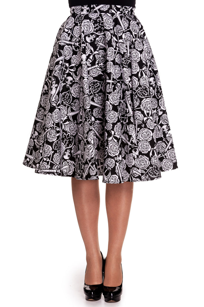 Hell Bunny Rock Love Death Do Us Part Skull Rose Anchor Black White Circle Skirt - Skelapparel
