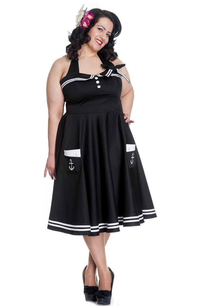 Hell Bunny Women's Plus Size 60's Motley Pinup Vintage Halter Black Sailor Swing Dress - Skelapparel