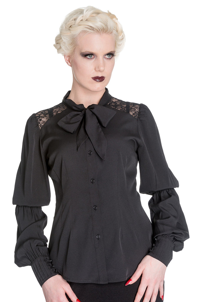 Spin Doctor Black Chiffon Gothic Romance Bishop Long Sleeve Blouse - Skelapparel - 1