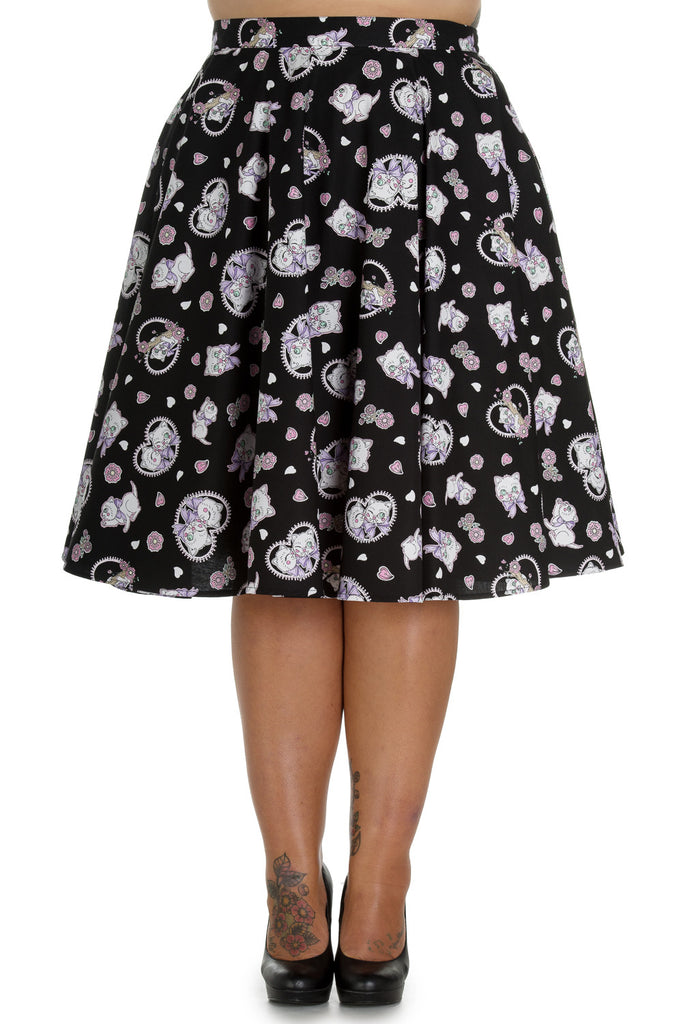 Hell Bunny Kitty Blossom Kawaii Kittens and Floral Print Circle Skirt - Skelapparel
