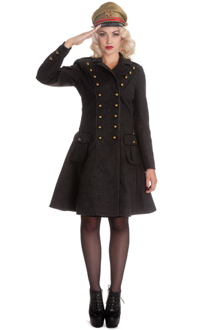 "Hell Bunny Victorian Steampunk Military Corset "" Imma"" Coat Gray - Skelapparel - 1"