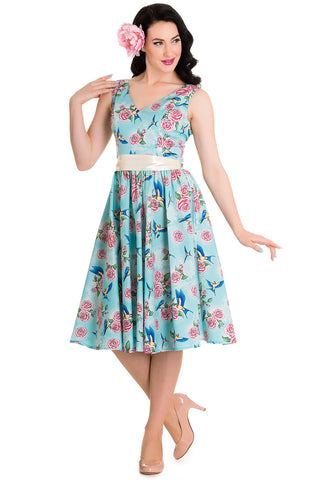 Hell Bunny 50's Blue Birds & Pink Roses with Bow Party Dress Turquoise - Skelapparel