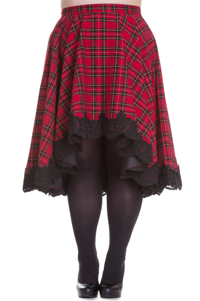 Hell Bunny Plus Victorian Rock Red Royal Stewart Tartan High-low Flare Circle Skirt - Skelapparel - 1