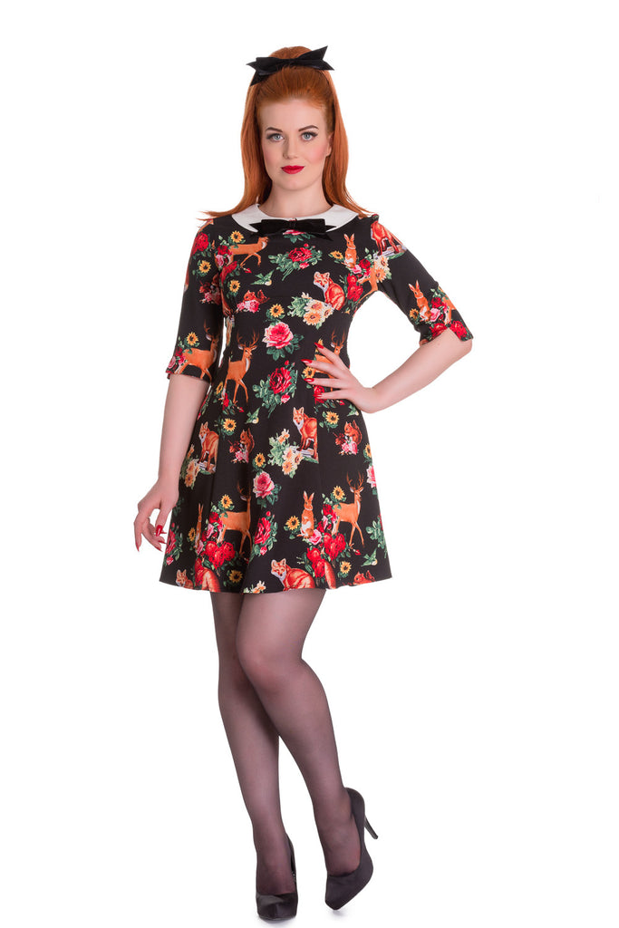 Hell Bunny Lolita Forest Animals & Flower Print Wonderland Mini Dress - Skelapparel