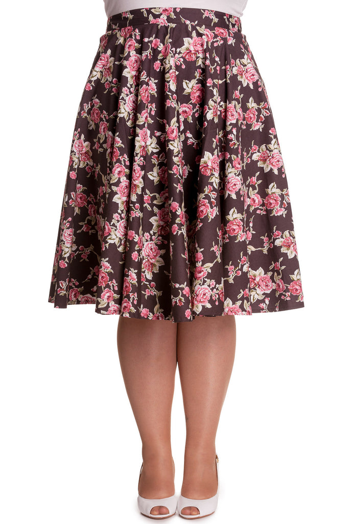 Hell Bunny Vintage Style Romantic Western Pink Roses Brown Flare Swing Skirt - Skelapparel