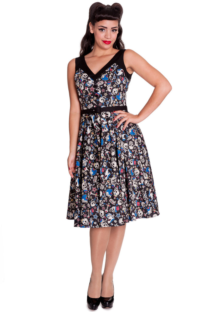 Rockabilly Pinup Nautical Rock Skull & Shark Party Swing Dress - Skelapparel