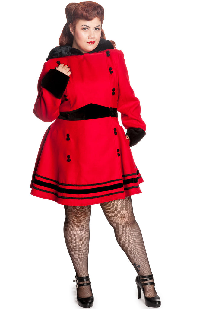 Hell Bunny Plus Red Faux Fur Trim Hooded A-line Princess Sofia Coat - Skelapparel