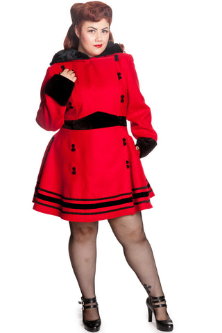 Hell Bunny Plus Red Faux Fur Trim Hooded A-line Princess Sofia Coat - Skelapparel - 1