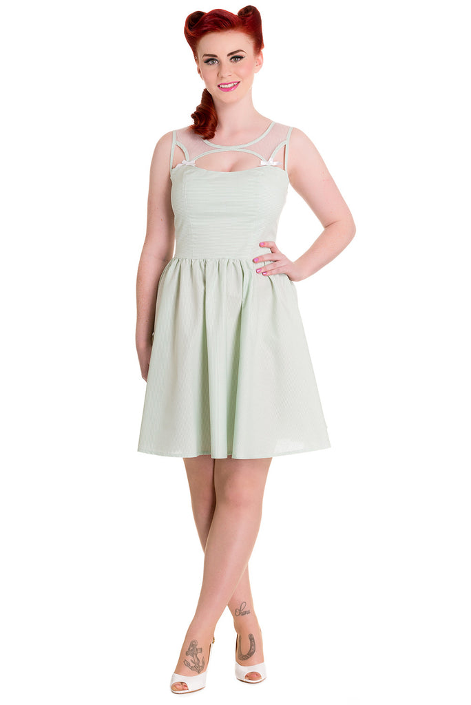 Hell Bunny Alice in the Wonderland Mint Green Gingham Check Sheer Top Party Dress - Skelapparel