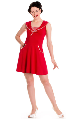 Hell Bunny 60's Vintage Inspired Nautical Summer Hali Sailor Mini Dress - Skelapparel - 1